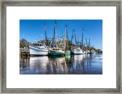 Darien Harbor Framed Print by Debra and Dave Vanderlaan