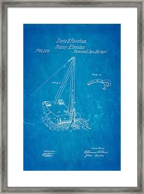 Daris Stump Elevator Patent Art 1861 Blueprint Framed Print by Ian Monk