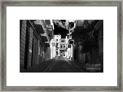 Dark Alley In San Juan Framed Print by John Rizzuto