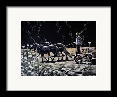 Team Or Horses Drawings Framed Prints