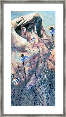 Dark Beauty Bathes In Rain Framed Print by Georgiana Romanovna