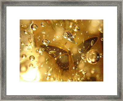 Dark Butterfly With Bubbles Framed Print