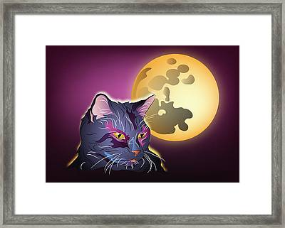 Dark Cat And Full Moon Framed Print