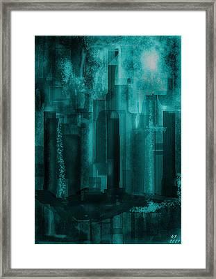 Framed Print featuring the digital art Dark City by Martina  Rathgens