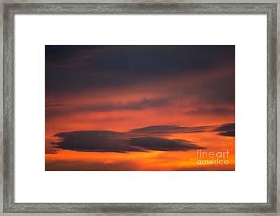 Dark Cloud On Red Sky Framed Print