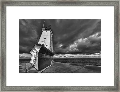 Dark Clouds Black And White Framed Print by Sebastian Musial
