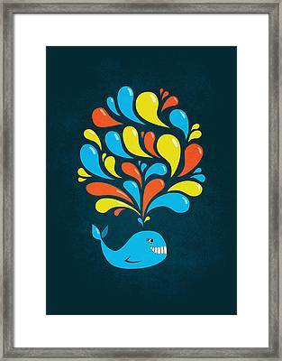 Dark Colorful Splash Happy Cartoon Whale Framed Print by Boriana Giormova