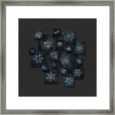 Framed Print featuring the photograph Snowflake Collage - Dark Crystals 2012-2014 by Alexey Kljatov