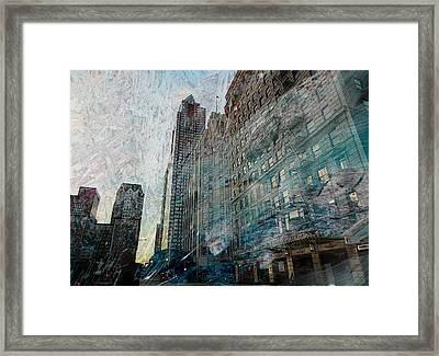 Dark Downtown Streetscene With Confetti And Wind Framed Print