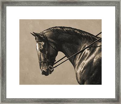 Dark Dressage Horse Aged Photo Fx Framed Print by Crista Forest
