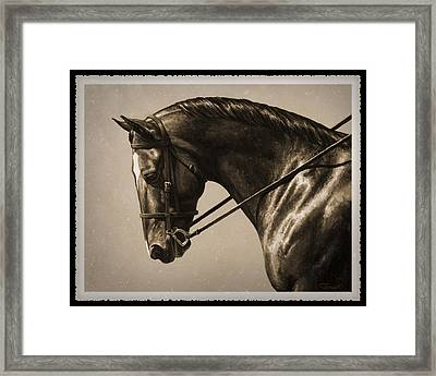 Dark Dressage Horse Old Photo Fx Framed Print by Crista Forest