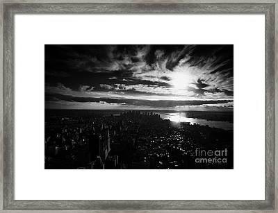 Dark Evening Sunset View Over Lower Manhattan New York City Usa Framed Print