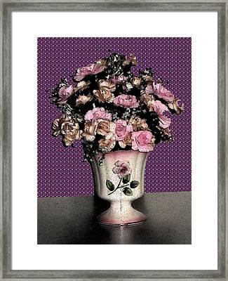 Dark Ink Vase And Flowers Framed Print