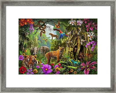 Framed Print featuring the drawing Dark Jungle Temple And Tigers by Ciro Marchetti