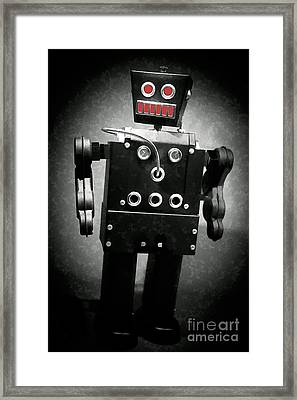 Dark Metal Robot Oil Framed Print by Edward Fielding