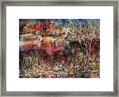 Dark Mirrors Lights Framed Print