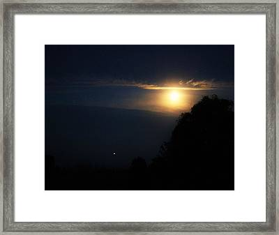 Firefly Dancing With The Moon  Framed Print by Rosemarie E Seppala