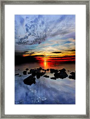 Framed Print featuring the photograph Dark Red Sunset Reflection Transparent Blue Sea Black Clouds Art by Eszra