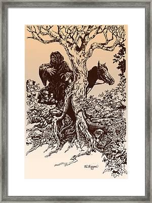 Dark Rider-tolkien Appreciation Framed Print by Derrick Higgins