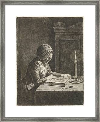 Dark Room With Woman Reading, Johannes Christiaan Janson Framed Print