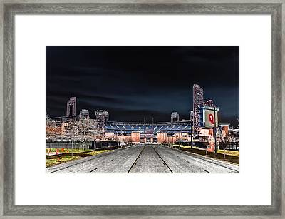 Dark Skies At Citizens Bank Park Framed Print