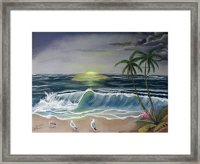 Dark Skies On The Beach Framed Print