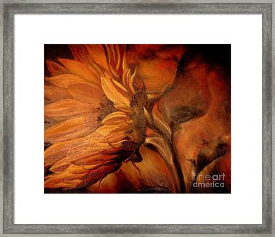 Framed Print featuring the painting Dark Sunflower by Sorin Apostolescu