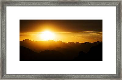 Framed Print featuring the photograph Dark Sunset Over The Matzatzals by Brad Brizek