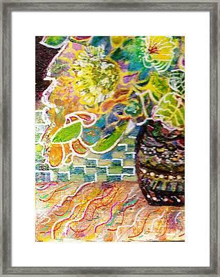 Dark Vase With Flowers On Table Framed Print by Anne-Elizabeth Whiteway