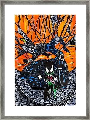 Darkhawk Illustration Color Framed Print by Justin Moore