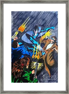 Darkhawk Issue 1 Watercolor Framed Print by Justin Moore