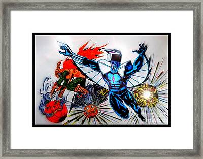 Darkhawk Vs Hobgoblin Focused Framed Print