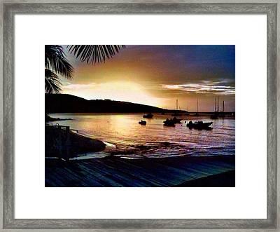 Darkness Decends On Harbor - Horizontal Framed Print