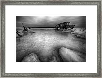 Darkness Descends On The Boat Skeleton  Framed Print by Jakub Sisak