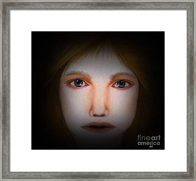 Darkness   Face Art By Saribelle Rodriguez Framed Print by Saribelle Rodriguez