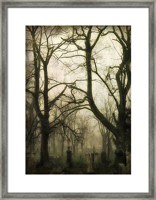 A Dark Fog Washes The Old Graveyard Framed Print