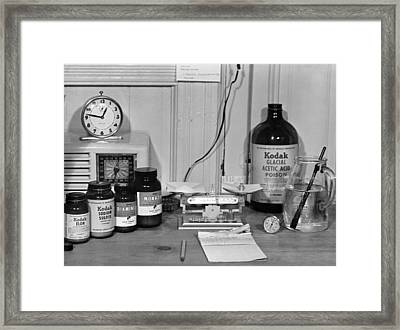 Darkroom Ingredients Framed Print by Underwood Archives