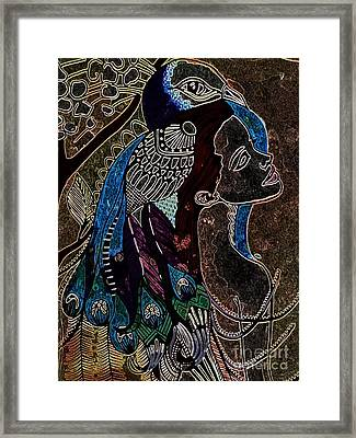 Darkside Peacock Woman Framed Print by Amy Sorrell