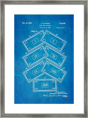 Darrow Monopoly Board Game 2 Patent Art 1935 Blueprint Framed Print