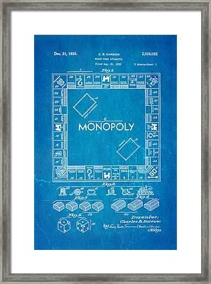 Darrow Monopoly Board Game Patent Art 1935 Blueprint Framed Print by Ian Monk