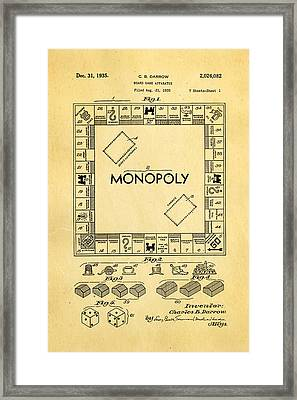 Darrow Monopoly Board Game Patent Art 1935 Framed Print by Ian Monk