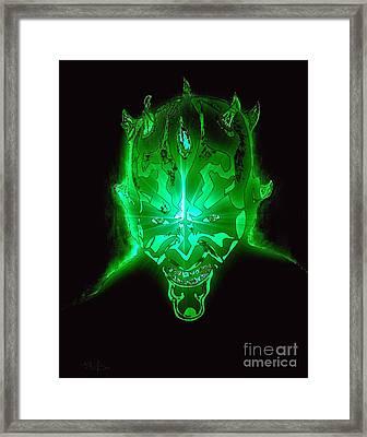 Darth Maul Green Glow Framed Print