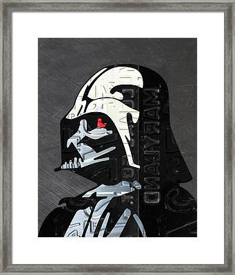 Darth Vader Helmet Star Wars Portrait Recycled License Plate Art Framed Print by Design Turnpike
