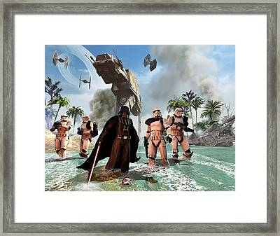 Darth Vader Searching The Beach Framed Print by Kurt Miller