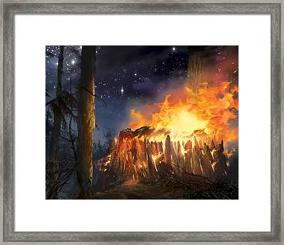 Darth Vader's Funeral Pyre Framed Print by Ryan Barger