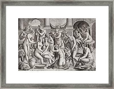 Das Frauenbad, Or The Womens Bath Framed Print by Nicolas Nelli