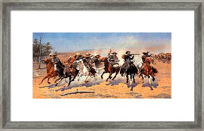 Dash For The Timber Framed Print by Frederic Remington