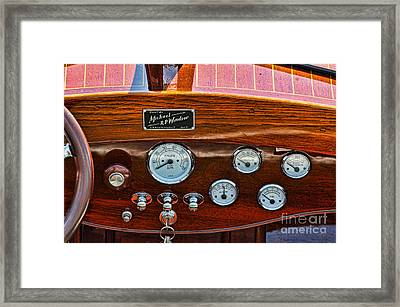Dashboard In A Classic Wooden Boat Framed Print