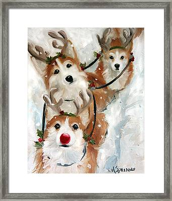 Dashing Through The Snow Framed Print by Mary Sparrow