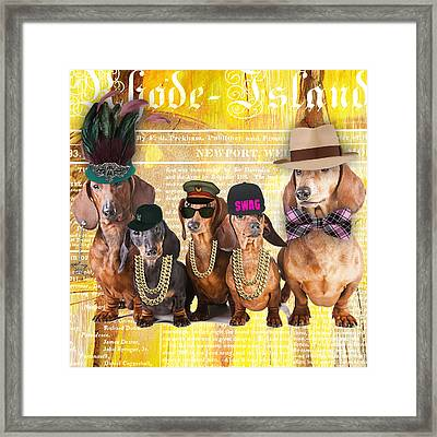 Dachshund Family Fun Framed Print by Marvin Blaine